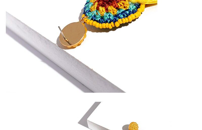 BTSETS Women Fringed Tassel Earrings Bohemian Bijoux Statement Earring Cheap Handmade Yellow Color Long Dangle Drop Earrings (4)
