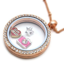 KUNIU Living Memory Locket Crystal Women's Necklace Floating Charm Jewelry Pendant Charm gifts
