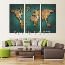 Modern Abstract Morning Deep Blue World Map Oil Painting On Canvas Art 3 Panel Set Home Wall Pictures For Living Room Decorative