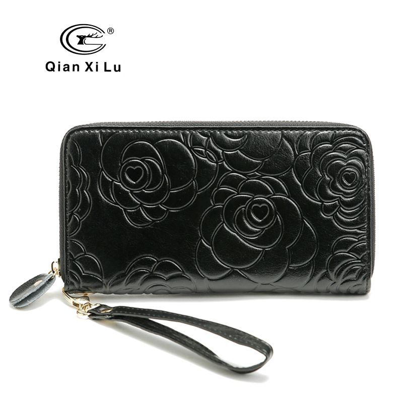 2017 National Floral Zipper Wallets Real Leather Long Women Purse Clutch Hand Bag Gift 6 COLOR<br><br>Aliexpress
