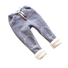 BibiCola autumn baby girls winter leggings children plus thick velvet pants casual trousers kids warm girl christmas pants(China)