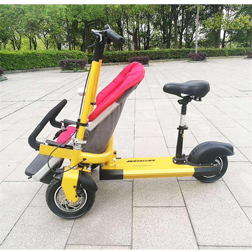 12 Inch Aluminum Alloy Removable Load 160kg Mini 36V 12Ah Electric Family Bicycle Pram Mother and Child Car Stroller02