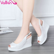 VALKIN 2017 Women Pumps High Heel Slingbacks Buckle Strap Platform Summer All Match Shoes Peep Toe Party Ladies Shoes Size 34-43