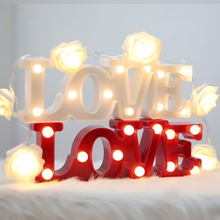 Romantic 3D Love Letter LED Warm White LED Night Light Table Lamp for Bedroom/Bedside Decorations Wedding Party Valentine's Day
