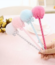 1 PCS Stationery Bow Plush Fur Ball Pen School Office Ballpoint Pen Girl Gift