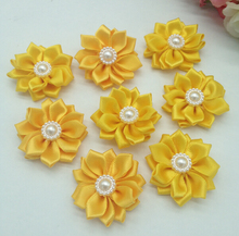 50pcs 35mm yellow with beads ribbon handmade flowers wedding diy appliques apparel sewing accessories F020