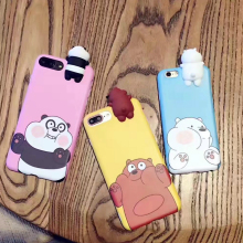 Fashion Cute Silicon 3D Korean Cartoon Bare cute  Bears Soft TPU For iPhone 7plus For Iphone 6 6s Plus Cases Cover Free Shipping