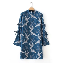 2017 Fashion Women Vintage Bird printing Mini Dresses Autumn style Casual Long sleeve dress Womens Clothing D1095(China)