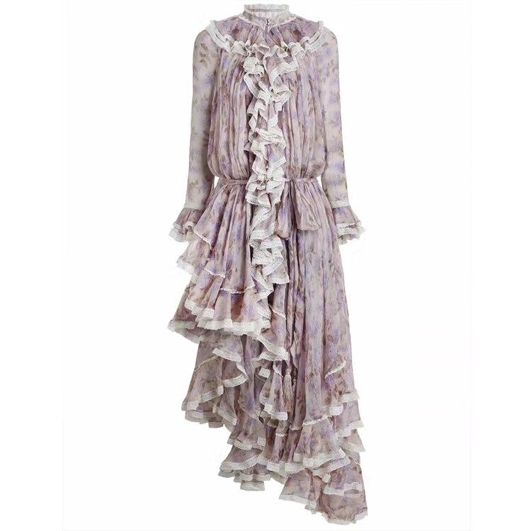 Women Long Sleeves Layered Cuffs Lavender Floral Print Asymmetrical Dress Silk Maxi Dress 5