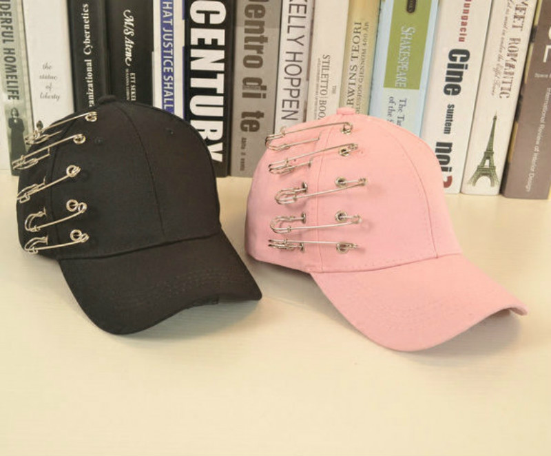 tc baseball hat unisex fashion summer women pink cap exaggerated pins ornament female sport black font