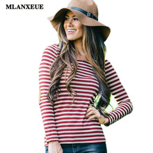 2016 Femme Summer Style Plus Size Tops Women's T-shirt  Apparel Design Women Clothing T-shirt Fashion Casual Stripe Slim T-shirt