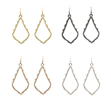GET IT GIRL 2016 New Gold Filled Brand KS Chandelier Earrings Gold Frame Cutout Fashion Rose Gold Water Drop Earrings for Women