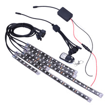 6pcs 72LED Car Remote light bar Symphony  RGB LED Car Motorcycle Chopper Frame Glow Lights Flexible Neon Strips Kit