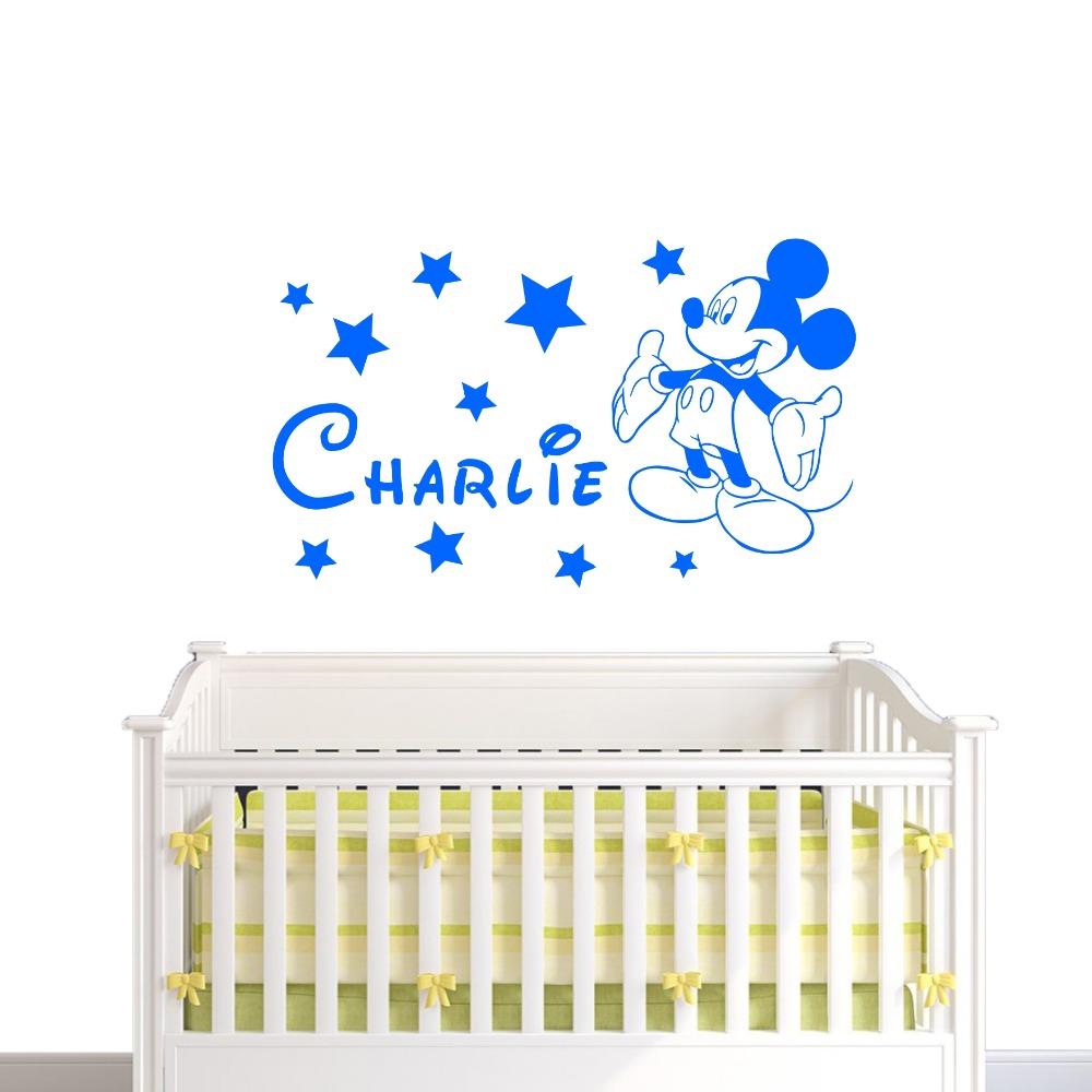 HTB1Qpz RpXXXXaIXVXXq6xXFXXXy - YOYOYU Mickey Minnie Mouse Custom Name wall sticker For Kids Room