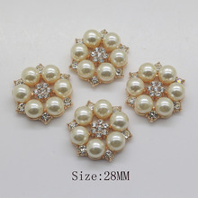 10psc 28mm  Flower center buttons pearl  for handmade flower /Golden flatback rhinestone embellishment Fashion decorativos