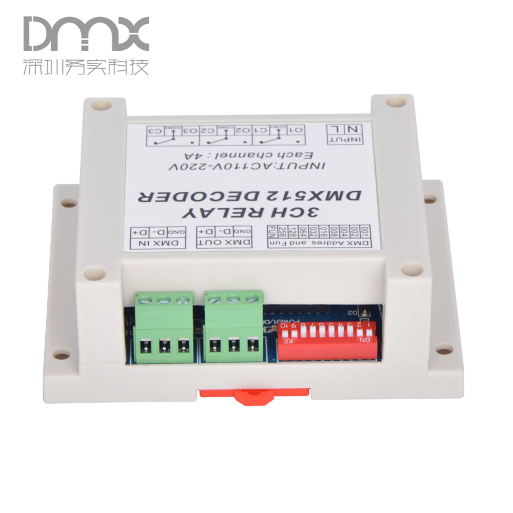 3CH dmx512 relay  Controller, 3CH RELAY OUTPUT , DMX512 relay decoder,AC1110-220V input Plastic housing, with guide rail<br><br>Aliexpress