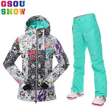 Gsou Snow Winter Women's Ski Suit Waterproof 10K Outdoor Female Snow Jacket and Pants Thicken Breathable Lady Snowboard Clothing