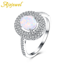 Ajojewel White Semi-precious Stone Rings For Women 2017 Micro Pave CZ Oval Opal Jewelry Elegant Gifts