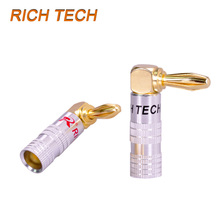 30pcs High Quality 90 Degree Angel 4mm Banana Plug For Video 24K Gold Plated Speaker Copper Adapter Audio Banana Connector(China)