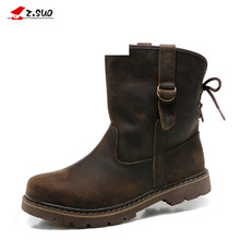 Genuine Leather Men Boots Vintage Motorcycle Boots Men Brown High Quality 39-44