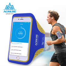 "AONIJIE arm belt phone bag Outdoor Ultra Light Sport Running Bag Transparent Phone Case Cycling Arm Band Bag for 4.7""/5.5"" Phone(China)"