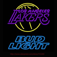Bud Light Los Lakerss Neon Sign Handcrafted Neon Bulbs Real Glass Tube Recreation Room Decorat Neon Lights Sports Signs VD19x15(China)
