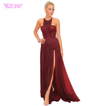 Blake Lively Burgundy Long Celebrity Red Carpet Dresses Halter Crepe Slit Zipper Back Women Evening Gown