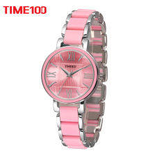 TIME100 Women's Quartz Watches Pink Simulated Ceramic Bracelet Watch waterproof Ladies Casual Watch XFCS relogios femininos(China)