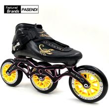 PASENDI Inline Skates Professional Speed Skating Shoes 3 wheels Roller Skates Beginner Children/Adults Roller Skate Boot(China)