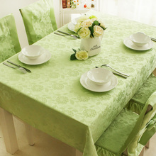 Europe pink/green Rose polyester filament Jacquard waterproof table clothes rectangle  rosette wedding decoration tablecloth