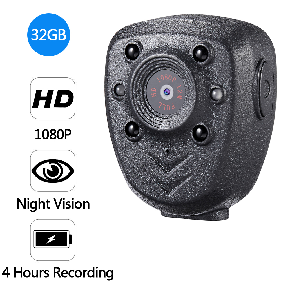 Full HD 1080P Police Body Lapel Worn Video Camera DVR IR Night Vision LED Light Cam Digital Mini DV Recorder Voice 32G TF Card_0