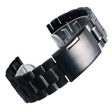 Black New Mens Black Stainless Steel Watch Band Strap Metal Bracelets For Men Wrist Watches Watchband Replacement + 2 Spring Bar
