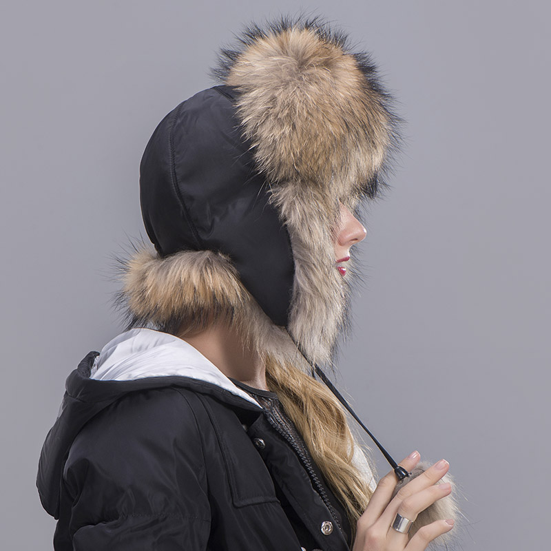 raccoon fur hat woman 2