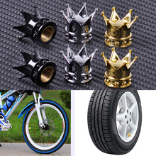 CITALL 2pcs New ABS Cover & Copper Core Crown Tyre Tire Wheel Valve Stems Air Dust Cover Cap for Bike Motorcycle Bicycles Cars(China)