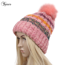 Women's Fleece Lined 2 Layers Warm Mink Fur Pom Poms Beanie Hat Chunky Thick Stretchy Knit Cable Cap Pompon Winter Hats Ypser