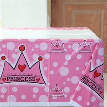Cartoon Theme Pink Crown Tablecover Birthday Party Decoration Kids Favors Supplies Events Tablecloth Happy Baby Shower 108*180cm