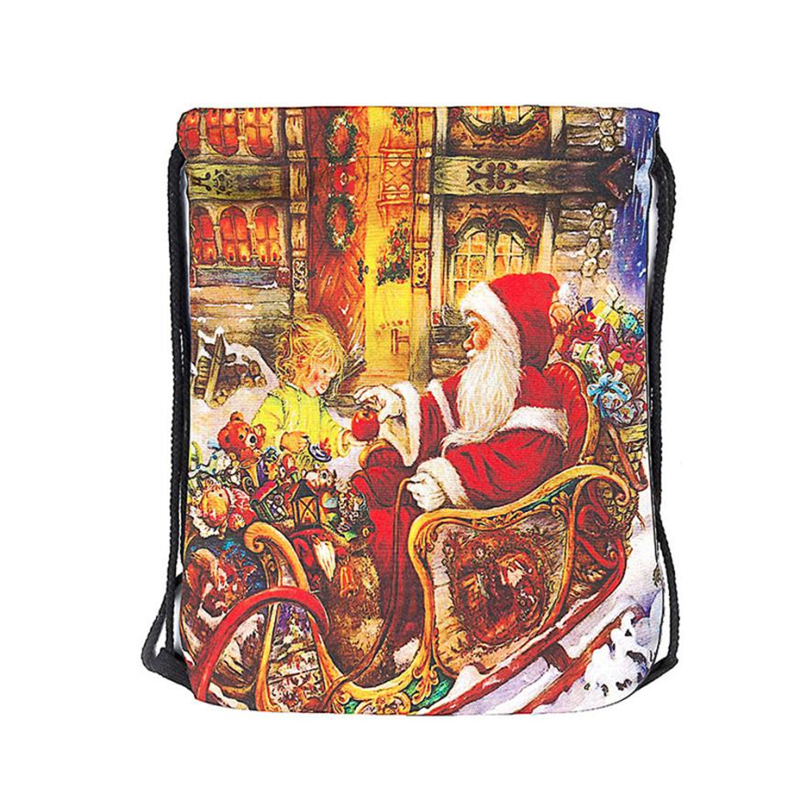 2018 New Ocardian Christmas Candy Gift Bundle Pocket Santa Claus Snowman Printed bag breathable Backpacks for Travel Daily C041709