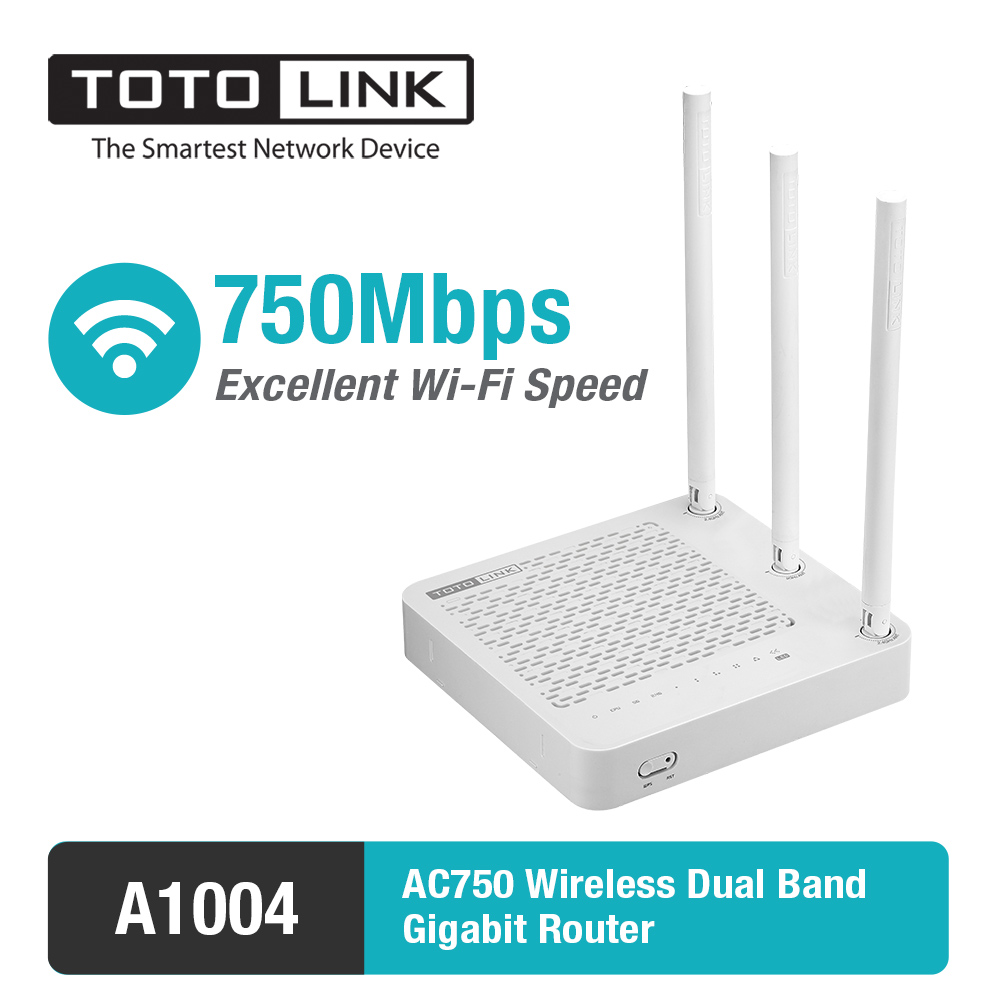 TOTOLINK A1004 11AC 750Mbps Dual Band wireless Gigabit Router  Supports VPN Server/Repeater<br>