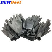 13pin dewbest Black PU material work gloves 12pairs/order European standard if buy big order can print logo(China)