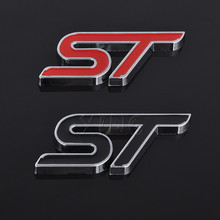 Fashion Metal Car Stickers ST Logo ABS Chrome Cool Sport Emblem Decals For Ford ST Fiesta Ecosport 2009 - 2015 Auto Accessories