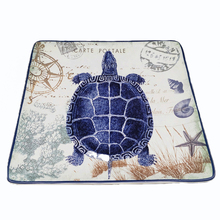 10 Inch Bone China Ocean Style Platter Big Ceramic Square Flat Plate Dinner Fruit Tray Oversize Turtle Dish Christmas Gift 1pcs(China)