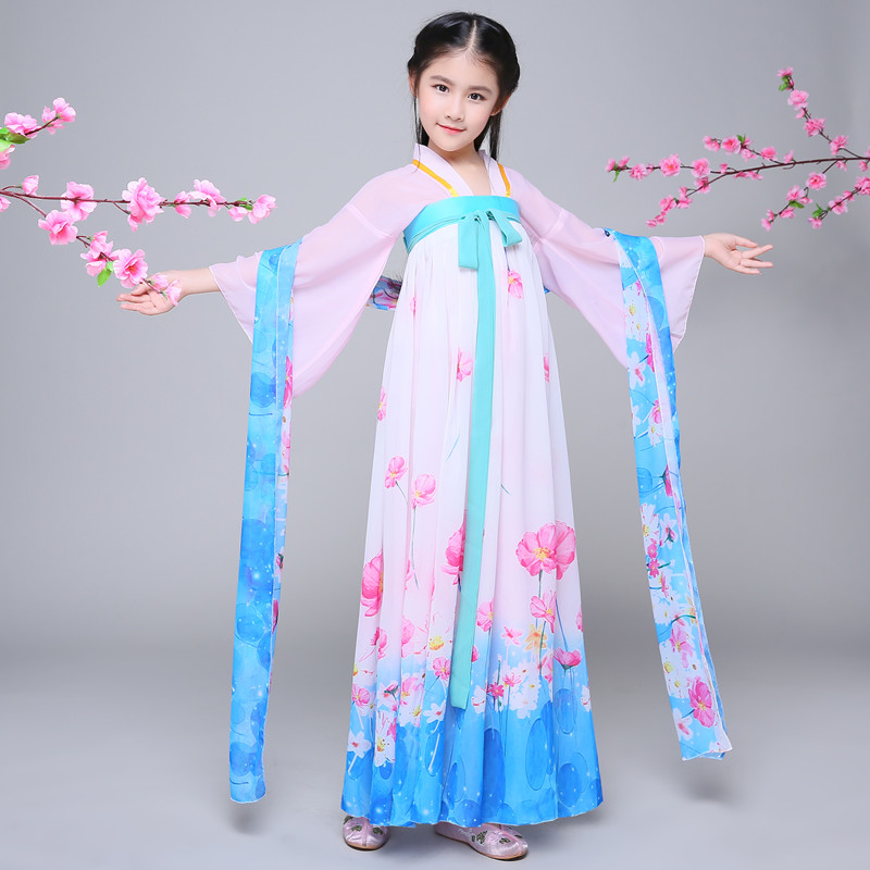 2018 spring kids chinese princess costume traditional dance costumes girls floral children folk ancient hanfu tang dynasty dress<br>