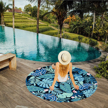 Colorful Printed 150*150cm Chiffon Round Frozen Flower Beach Towel Drying Washcloth Swimwear Shower Towel Home Textile