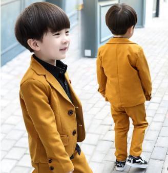 2019 cotton Boys suits for weddings Kids Prom Suits brown Wedding Suits for Children Boy Formal kids Costume  2pcs: jacket+pant
