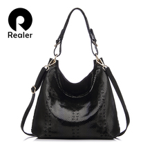 REALER brand new design genuine leather tote bag women fashion beige/black/red/coffee handbag Shoulder Bag With Embossed Handbag