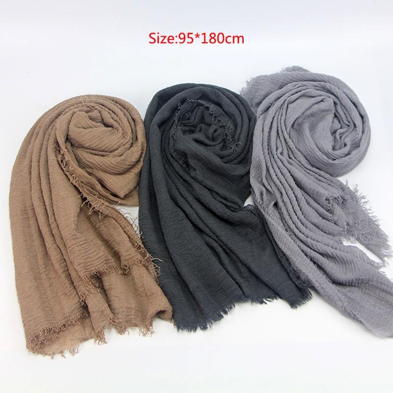 Women Crinkle Cloud Hijab Scarf Shawl Muslim Long Shawl Stole Wrap 8