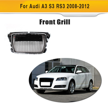 A3 Car Bumper Chrome Frame Grille For Audi A3 RS3 2008-2012 Race Mesh Grill ABS