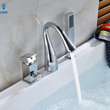 Ulgksd 3pcs Chrome Bathroom Shower Faucet Bathtub Mixer Faucet W/ Hand Shower Mixer Taps Bathroom Water Tap Hot and Cold Water(China)