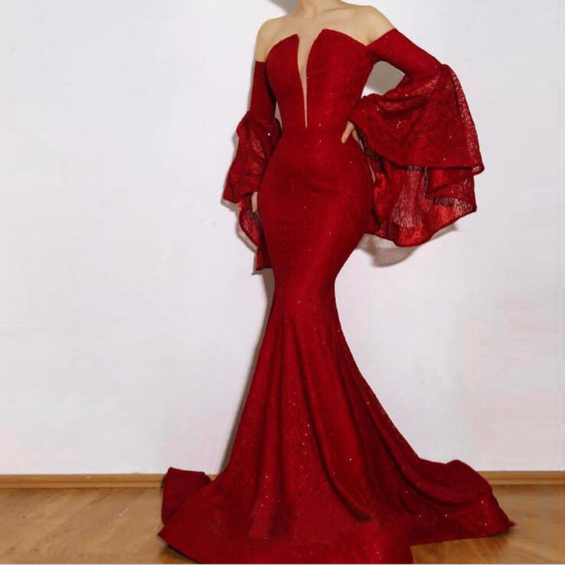 RED CARPET FORMAL EVENING GOWN OFF THE SHOULDER PROM MERMAID STUNNING GALA DRESS