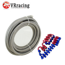 VR - AN-6 STEELNESS / STEEL BRAIDED 5M AN6 STAINLESS Racing Hose Fuel Oil Line + Hose End Adaptor KIT +NPT PLUG VR-SL10NPT-RB